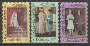 DOMINICA SG998/1000 1986 60th BIRTHDAY OF QUEEN ELIZABETH MNH