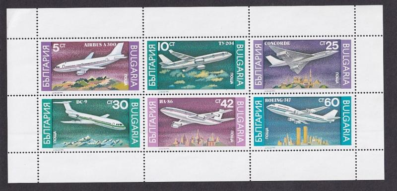 Bulgaria  #3557a-3562a  MNH 1990 sheet Airplanes  boeing concorde airbus