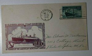 SOJEX American Merchant Marine Camden NJ 1946 SS Manhattan Philatelic Cachet