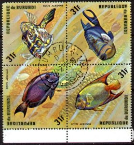 4 Different Fish, Burundi SC#C212 Block of 4 used