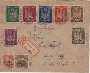 Germany #B5-6, C8-14 On Registered Cover  CV  $261.50  (Z7468L)
