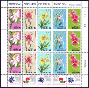 Palau. 1990. ml 361-65. Orchids, flowers. MNH.