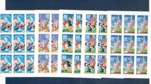 3137b-3204b-3306b-3391b-3534b Looney Tune Panes Of 9 Stamps FREE SHIPPING