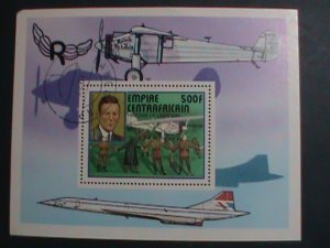 CENTRAL AFRICA-1977- CHARLES LINDBERGH & SPIRIT OF ST.LOUIS-CTO S/S VERY FINE