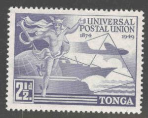TONGA  Scott 87 MH* 1949 UPU  stamp