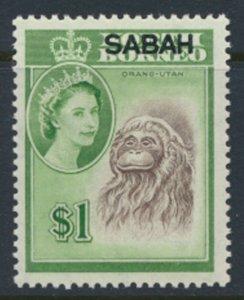 SABAH Opt on North Borneo  SG 420  SC# 13 MVLH   Orangutan  see scans  and de...