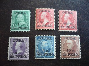 Stamps - Cuba-Scott# 221-226 -Mint Hinged Set of 6 Stamps- Surchaged Overprinted