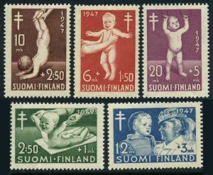 Finland B82-B86,MNH.Michel 341-345. Prevention of tuberculosis,1947.