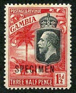 Gambia SG125s 1 1/2d Wmk Mult Script CA Opt SPECIMEN M/Mint (toned)
