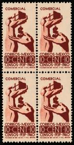 MEXICO 753, 10c Census. Block of four. Mint, NH. (431)