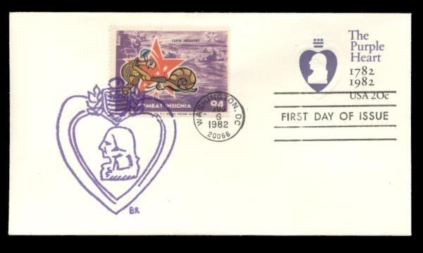 134th Infantry Poster Stamp on Purple Heart #U603 FDC