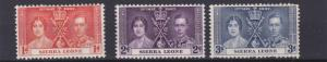 SIERRA LEONE  1937   CORONATION SET   MH
