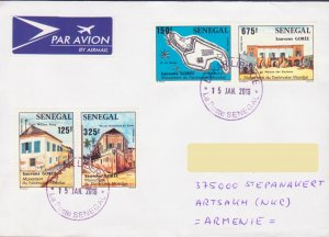 SENEGAL AFRICA AIR LETTER TO NAGORNO KARABAKH MAP ARCHITECTURE ARMENIA R16943