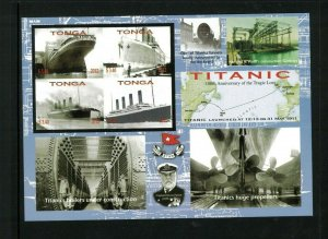 Wholesale Lot Tonga #1178 Titanic. Imperf. Mini Sheet. Cat.128.00 (8 x 16.00)