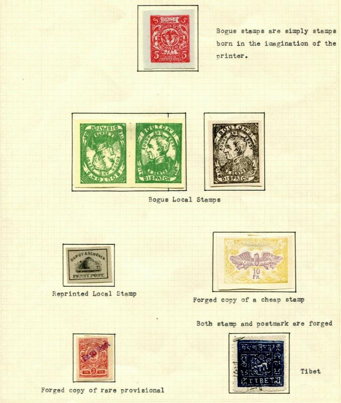 Fake Forgeries Bogus Stamps Postage Collection