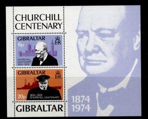 GIBRALTAR QEII SG MS339, 1974 sir winston churchill mini sheet, NH MINT.