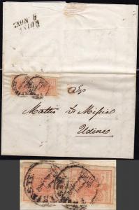 Austria - 3kr 1854 - Scott #3e - vert. pair/cover - TRIEST