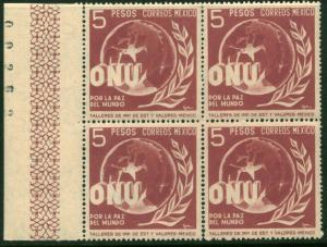 MEXICO 817, $5P Honoring the United Nations. Block 4MNH(185)