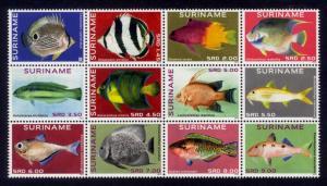 Suriname Sc# 1475 MNH Fish 2014 (Block of 12)