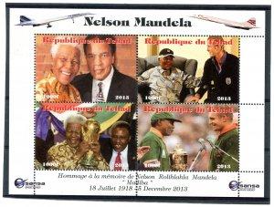 Chad 2013 NELSON MANDELA MUHAMMAD ALI BECKHAM Sheet Perforated Mint (NH)