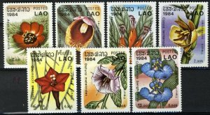 Laos 1984, Woodland flowers set, Sc 554-560 MNH
