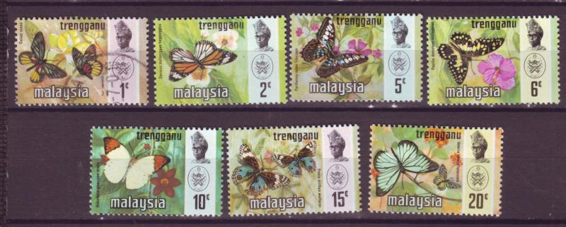 J18029 JLstamp [low price] 1971 malaya trengganu set mh/used #96-102 butterfly,s