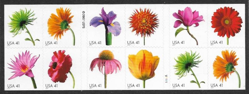 # 4185a - Flowers -Dble sided Booklet pane of 20 - MNH