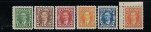 CANADA SCOTT #231-236  1937 GEORGE VI DEFINITIVES- MINT NEVER HINGED