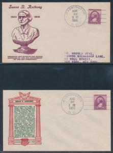 #$784 AUG 26,1936 FDC BY J.A.ROY & BRONESKY (2) DIFF SUSAN B. ANTHONY BU3424