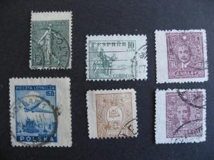 Worldwide, 6 stamps each has wide margin on one side (2 China)! Mixed condition