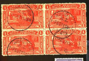 New Zealand #123 Used Block F-VF Cat$110