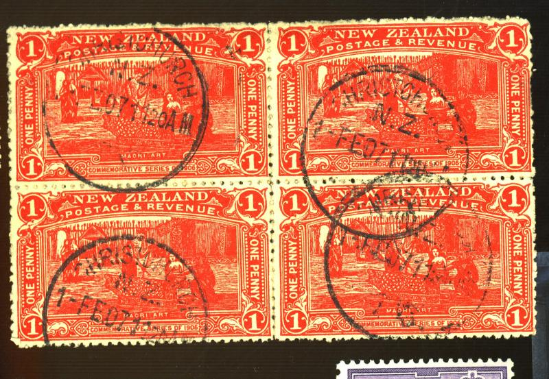 New Zealand #123 Used Block F-VF Cat$110