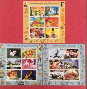 Mauritania 2003 - 3 M/S Walt Disney Cartoon Animation Mickey Winnie Stamps CTO