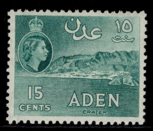 ADEN QEII SG52, 15c blue-green, NH MINT.