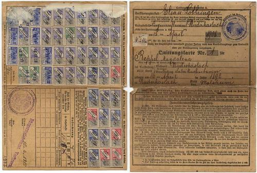 Alsace-Lorraine - Scarce 1910 Card w 51 Social Stamps