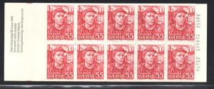 Sweden Sc 813a 1969 ILO 50 years stamp bklt of 10  mint NH