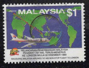 Malaysia Scott 410 Used Malaysian Airlines 747 Non-Stop to London key stamp