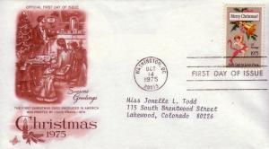 U.S. FDC Sc.# 1580 Christmas '75 Artcraft Cachet L215