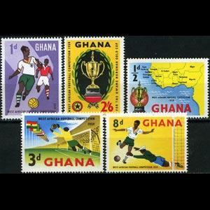 GHANA 1959 - Scott# 61-5 Soccer Set of 5 NH