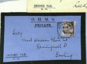AF210 GB *I.R.OFFICIAL* QV MOURNING Cover 1901- Group{3} Bradford Squared Circle