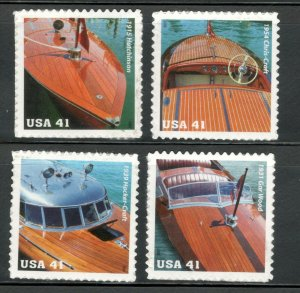 4160-63 Mahogany Speedboats Set Of 4 Mint/nh FREE SHIPPING