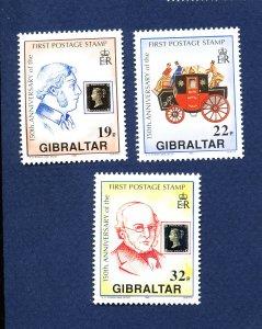 GIBRALTAR - # 570-572 - MNH  - Penny Black - stamp-on-stamp  1990