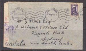SOUTH AFRICA, 1943 Censored cover, 2d. Bantam, Johannesburg to Australia.