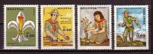 Bolivia, Scott cat. 526-527, C307-8. Scout Movement issue.  LH. *