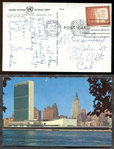 3991 - UNITED NATIONS New York - 1959 Cancel on UN Tower & Skyline Postcard