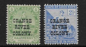 ORANGE RIVER COLONY, 54-55 HINGED,CAPE OF GOOD HOPE STAMPS OVPTD