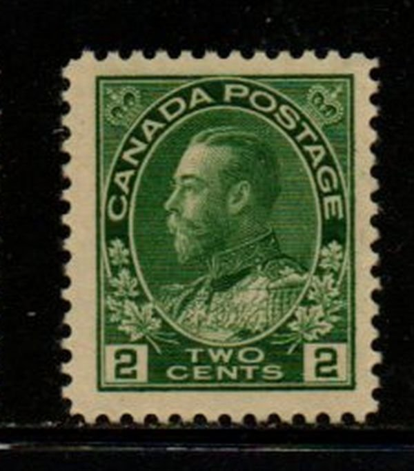 Canada Sc 107 1922  2 c yellow green  G V Admiral issue stamp mint