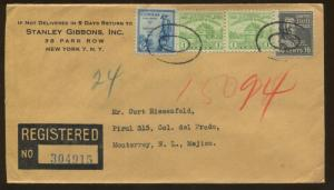 1948 New York Stanley Gibbons Registered Mail to Monterrey Mexico Ad Cover