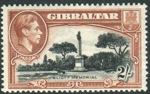 GIBRALTAR-1938-51 2/- Black Brown Perf 13½.  A mounted mint example Sg 128a