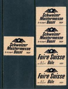 5 VINTAGE 1937 GERMAN AND FRENCH BASEL POSTER STAMPS (L673) SWISS SWITZERLAND